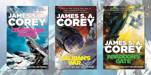 Covers of books from the Expanse setting by James S.A. Corey